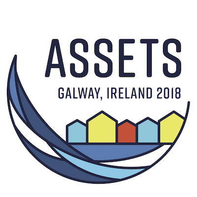Conference logo showing a wave, houses, and text that reads: ASSETS Galway Ireland 2018.